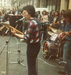 Band playing in street.