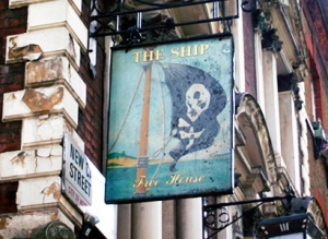 Pub sign with pirate flag.