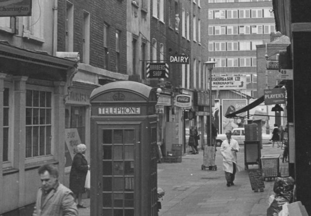 Street scene in Fitzrovia, London, 1970s or 1980s.