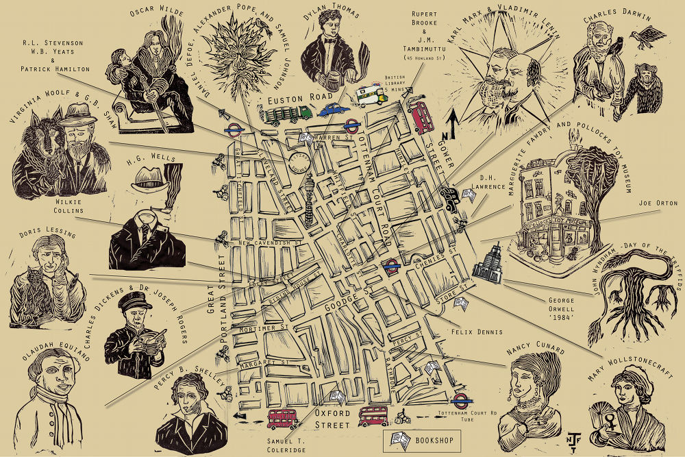 Hand-drawn map of Fitzrovia.